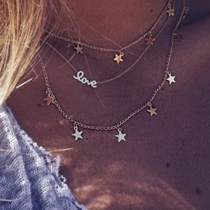 Multilayer Choker Love/Stars Necklace Gold